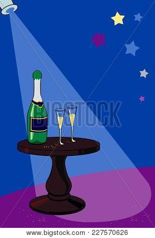 illustration of holiday background, little table in festive studio for celebration