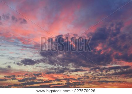 Sunset Sky. Incredible Colors Of The Evening Sky With Storm Clouds.