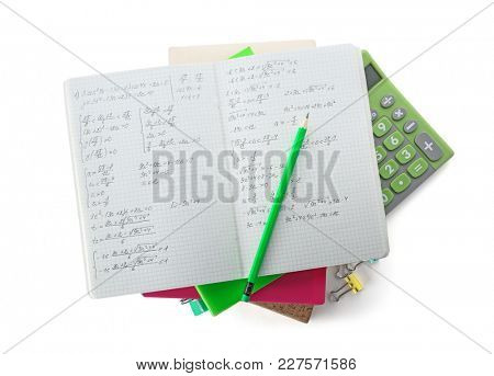 Pile of homework on white background, top view