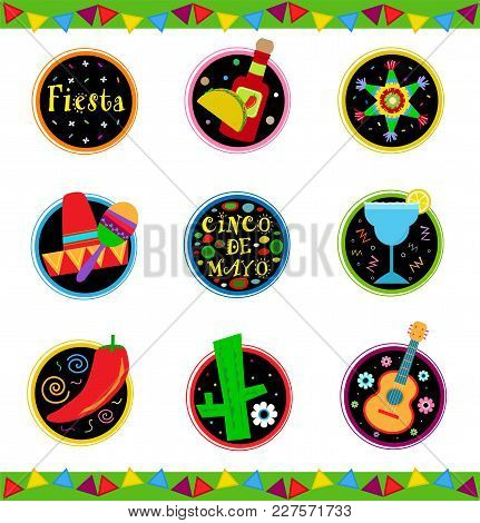 Nine Cheerful And Colorful Mexican Celebration Icons. Eps10