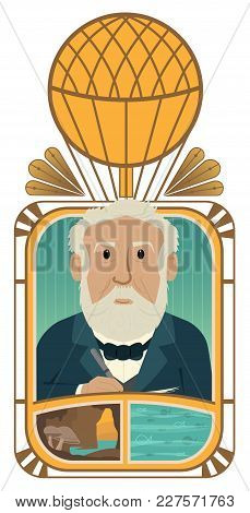 Conceptual Illustration Of Jules Verne Depicting His Stories. Eps10