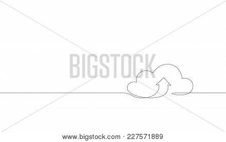 Single Continuous Line Art Cloud Storage Silhouette.cloud Computing Global Big Data Information Web