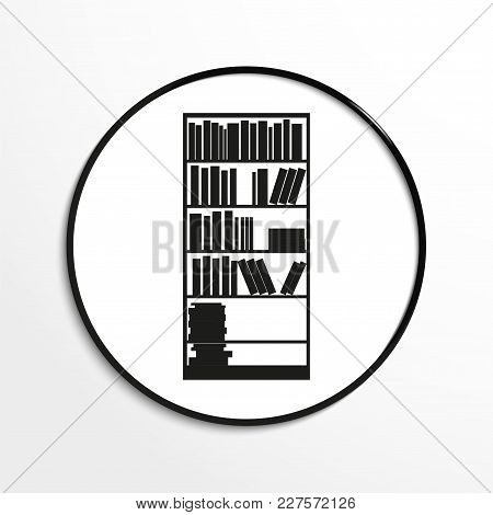 Bookcase. Vector Icon. Black And White Image On A Black And White Background.