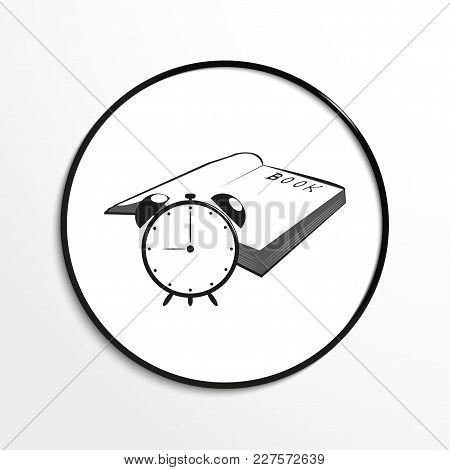 Table Clock And An Open Book. Conditional Symbol. Vector Icon.