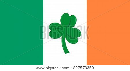 Flag Of Ireland And Clover Close Up Vector Illustration