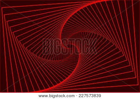 Rotating Concentric Rectangle, Square Optical Illusion Pattern - Red, Geometric Abstract Background