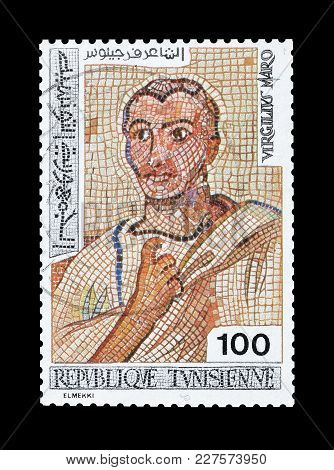Tunisia - Circa 1976 : Cancelled Postage Stamp Printed By Tunisia, That Shows Mosaic Of Virgil.
