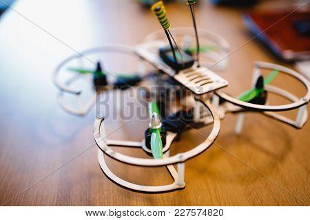 Drone Designer. Close-up Axis, Propeller, Screw, Antenna.