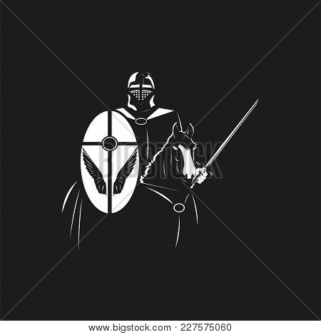 A Knight In Armor With A Shield And A Sword On A Horse. Vector Illustration In The Style Of Black An