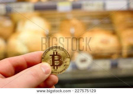 Bitcoin Payment For Food, Fruit And Vegetable In A Grocery Store Using Cryptocurrency In Real Life C