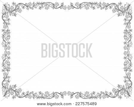 Ornamental Floral Frame With Leaves And Flowers Isolated On The White Background, Vector Illustratio