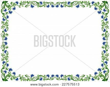 Ornamental Floral Frame With Leaves And Flowers In Green And Blue Hues, Vector Illustration