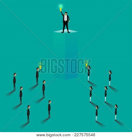 Businessman Character With Lightbulb . Man Thinking, Pointing At Light Bulb Above Head. Having A Big