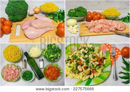 Cooking Pasta With Chicken And Broccoli. Collage