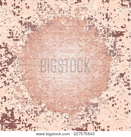 Beige Brown Textured Background With Circle And Spots. Rough Wall Texture Vector Background. Vector