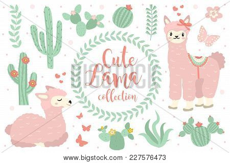 Cute Lama Set Objects. Collection Design Elements With Llama, Cactus, Lovely Flowers. Isolated On Wh
