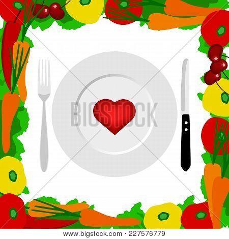 Healthy Lifestyle. Cutlery. Health. The Choice Dinner Time Vector Illustration