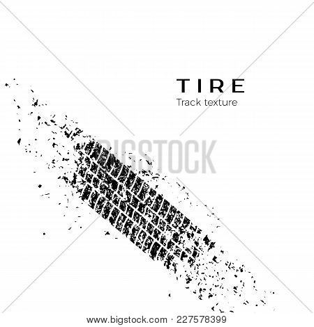 Dirt Track From The Car Wheel Protector. Tire Track Silhouette. Grunge Tire Track. Black Tire Track.