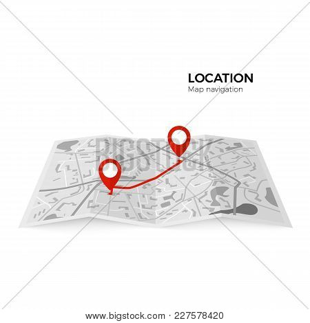 Black And White Map With Red Pointers Of The Starting Point Of The Route And The Final. Gps Navigato