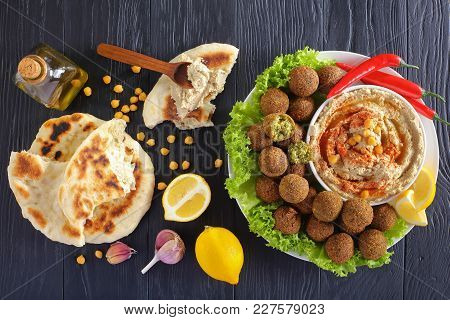 Falafel Balls On Plate With Hummus And Pita