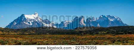 Panorama of Torres del Paine National Park, Chile