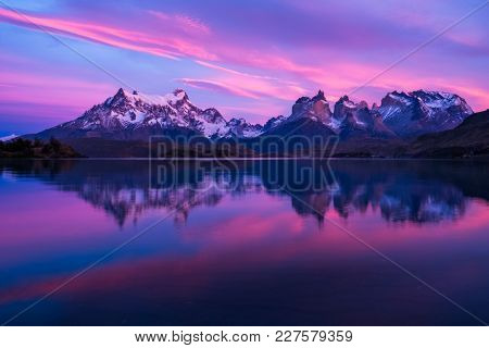 Torres del Paine National Park. Sunrise from lake Pehoe. Chile