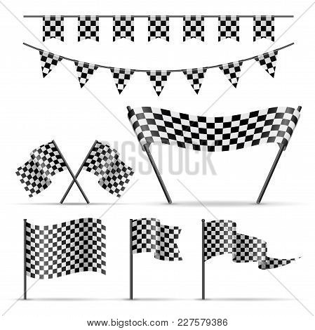 Set Of Sport Checkered Flags And Banner On White Background. Jpg Include Isolated Path