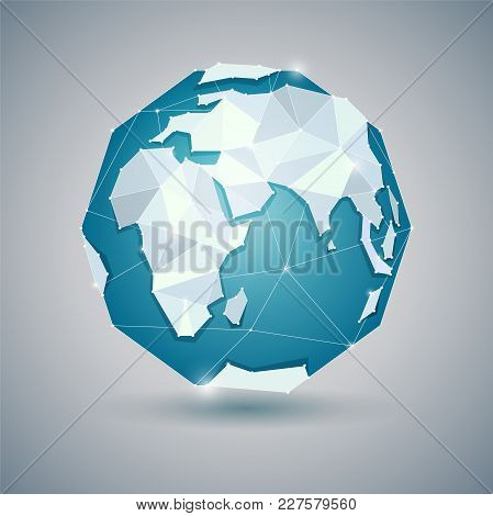 Globe Or Earth Icon On Gray Background. Planet. Triangle Polygonal Style. Jpg Include Isolated Path