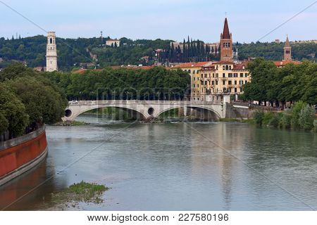 Ponte della Vittoria, the Victory bridge across Adige river in Verona, Italy