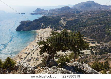 Aerial view to Tsambika beach on Rhodes island, Greece