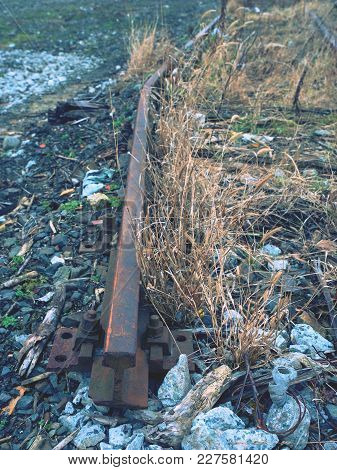 Railway Rails Scrap. Recycling Industry.  Metal Material Is Waiting For Transport To Steel Foundry F