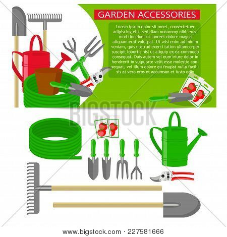 Gardening Tools Icons Isolated On White Background. Banner Template With Gardening Tools On Green Ba