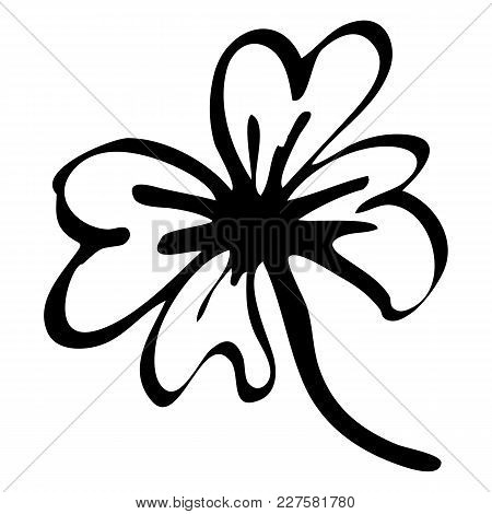 Monochrome Black And White Doodle Clover Shamrock Saint Patrick's Day Ink Line Art Isolated Vector