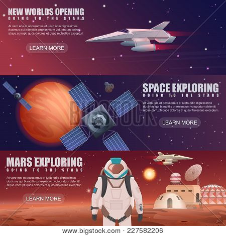 Vector Illustration Of Different Banners With Planets Colonization, Astronaut Dedicated To Space Exp