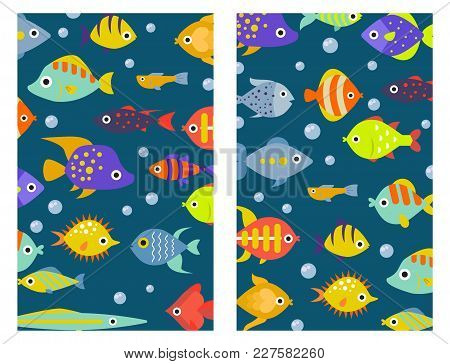 Aquarium Ocean Fish Underwater Cards Bowl Tropical Aquatic Animals Water Nature Pet Characters Vecto