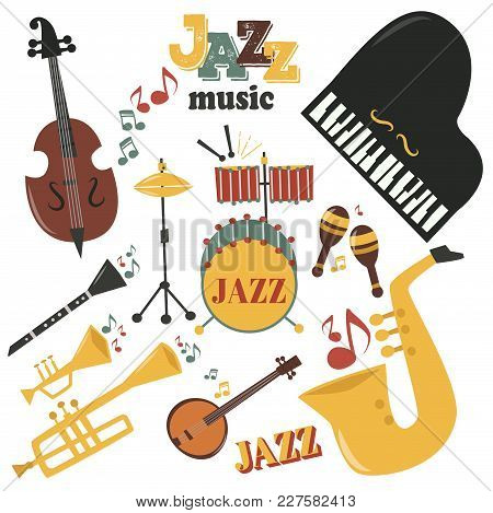 Jazz Musical Instruments Tools Icons Jazzband Piano Saxophone Music Sound Vector Illustration Rock C