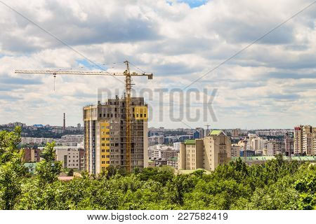 Belgorod Cityscape Skyline, Russia. Aerial View In Daylight. Residential Multi-storey Apartment Bloc