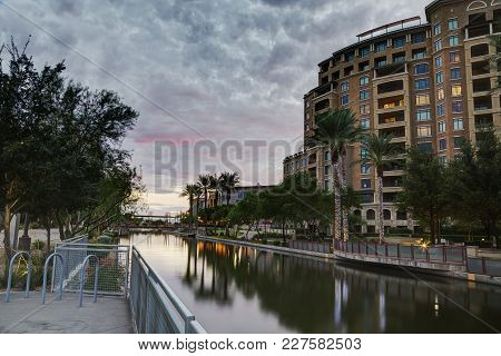 Canal At Southbridge Of The Waterfront District In Scottsdale, Arizona Usa. Part Of The Salt River P