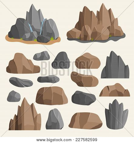 Stones Rocks In Cartoon Style Big Building Mineral Pile. Boulder Natural Rocks And Stones Granite Ro