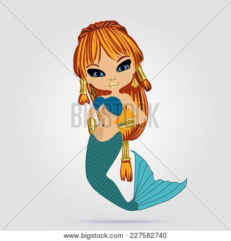 Vector Illustration With Little Mermaid In Anime Style. Young Beautyful Girl. Red-haired Girl.