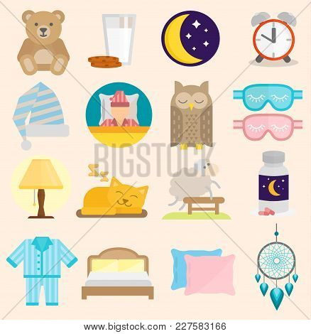 Sleep Time Icons Flat Set With Window Milk Isolated Vector Illustration. Sleep Icons Moon Set Pillow