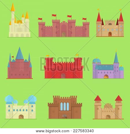 Cartoon Fairy Tale Castle Tower Icon. Cute Cartoon Castle Architecture. Vector Illustration Fantasy