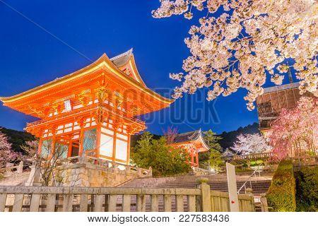 Kyoto, Japan at Kiyomizu-dera Temples Niomon gate during spring season. (signs read: