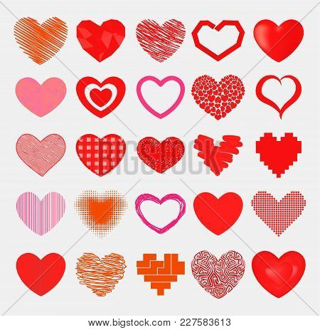 Simple Red Hearts Sharp Vector Icon. Color Card Beautiful Celebrate Bright Emoticon Red Heart Symbol