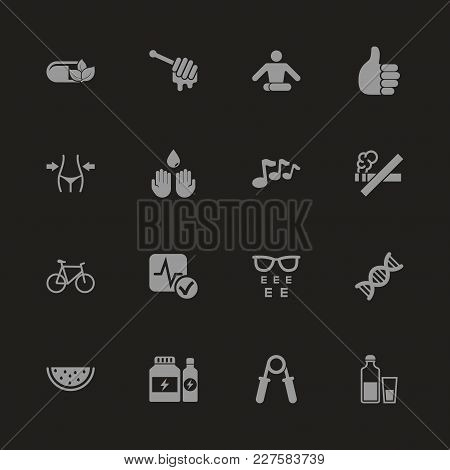 Health Icons - Gray Symbol On Black Background. Simple Illustration. Flat Vector Icon.