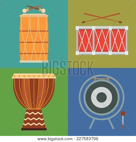 Musical Drum Wood Rhythm Music Instrument Series Set Of Percussion Vector Illustration. Drummer Musi