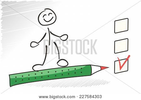 Stick Man Survey. Choice Business Concept. Vector Questionaire Illustration. Green Pencil Pointing O