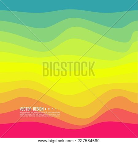 Distorted Wave Colorful Texture. Abstract Dynamical Rippled Surface. Vector Stripe Deformation Backg