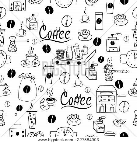 Seamless Pattern With Coffee Accessories. Food Illustration