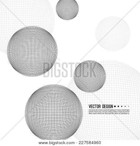 Abstract Techno Background With Mesh Sphere. Vector Dynamical Round Element. Black And White Circle